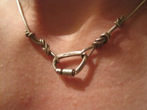 Carabiner Knot Necklace chain climbing silver